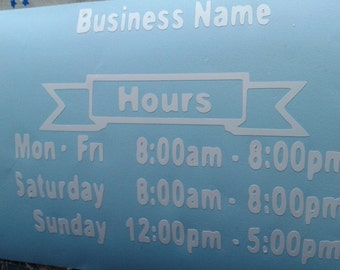 Store Front Lettering/Store Front Window Decals/Business Store Front Decal/Business Decal/Store Window Decals/Auto Window Decals/Store hours