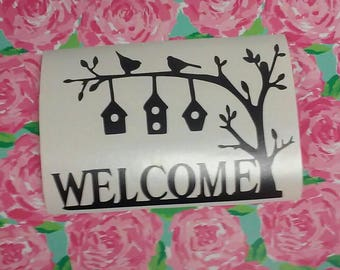 Bird Wall Decal/Welcome Sign/Bird House Wall Decal/Welcome/Cabin Decal/Welcome To The Cabin Bird Wall Decal/Wecome Bird  Wall Decal /Bird