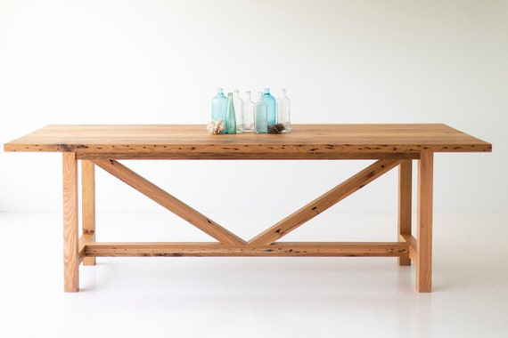 Brilliant 90 Inch Modern Farmhouse Dining Table With Reclaimed Oak Base And Top Onthecornerstone Fun Painted Chair Ideas Images Onthecornerstoneorg