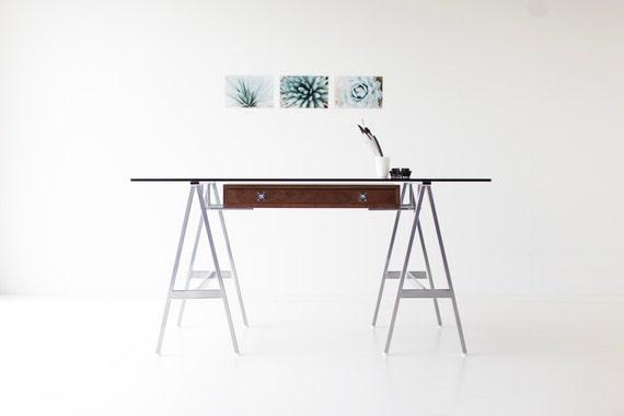 Bureau moderne bureau moderne noyer bureau en verre moderne etsy