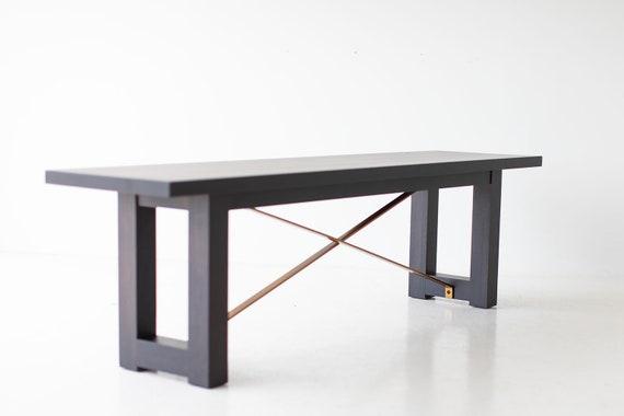Strange Mid Century Modern Bench Black And Brass Spiritservingveterans Wood Chair Design Ideas Spiritservingveteransorg
