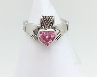 Sterling Silver Pink Ice Claddagh Ring