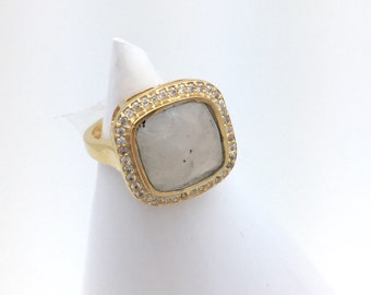 Moonstone and Gold Solitaire Ring