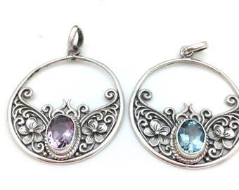 Sterling Silver Floral Bali Pendant