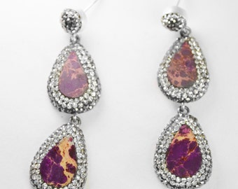 Purple Jasper and Swarovski Crystal Dangling Earrings