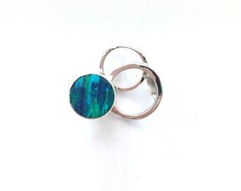 Modern Circular Blue Opal Statement Ring