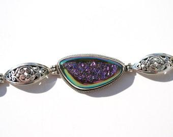 Sterling silver druzy and onyx bracelet
