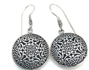 Silver Round Bali Earrings