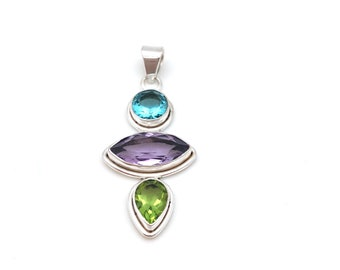 Sterling Silver and Blue Topaz , Amethyst and Peridot Pendant