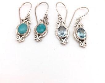 Sterling Silver Blue Topaz or Turquoise Fancy Earrings
