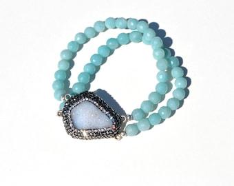Druzy and swarovski amazonite bracelet