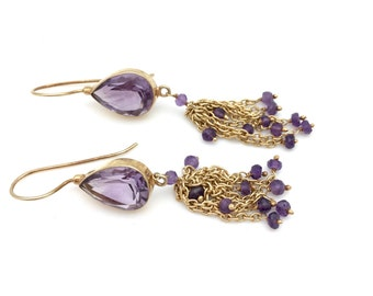 14K Gold Vermeil and Amethyst Dangle Earrings