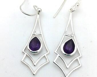 Modern Amethyst Earrings