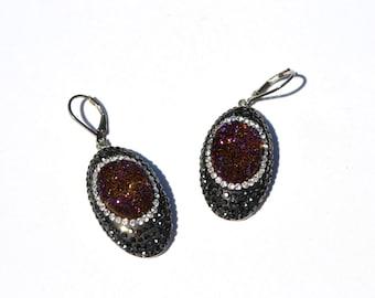 Dark Red- purple Druzy Swarovski Crystal Earrings