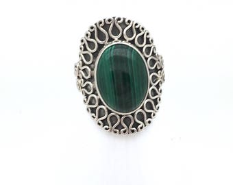 Oval Malachite Statement Ring