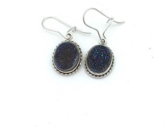 Blue /Purple Druzy Earrings