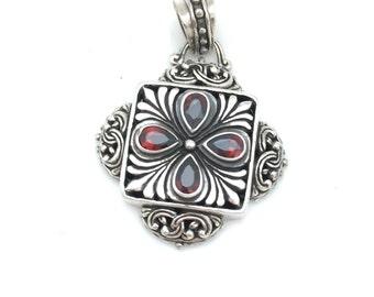 Sterling Silver and Garnet Bali Pendant