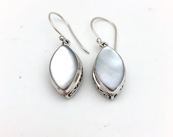 Sterling Silver and Marquis-shaped Mother of Pearl Dangle Earrings