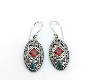 Garnet Oval Bali Earrings