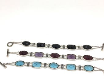 Sterling Silver Marcasite and Quartz Bracelet