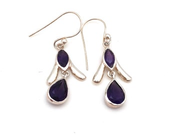 Simple Sterling Silver Amethyst Dangle Earrings