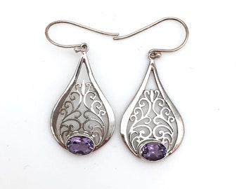 Sterling Silver Filigree Earrings with Amethyst