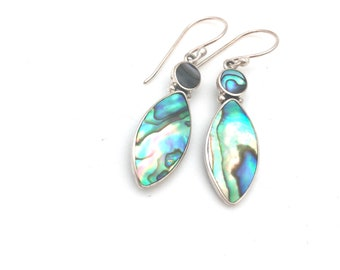 Sterling Silver and Abalone Drop Earrings