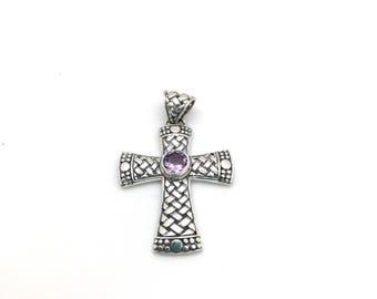 Sterling Silver Basketweave and Amethyst Cross