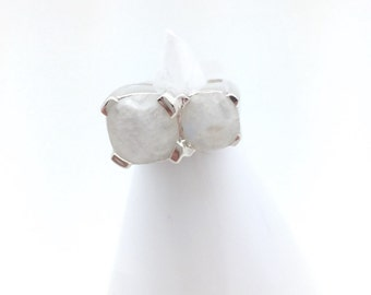 Double Moonstone and Sterling Silver  Ring