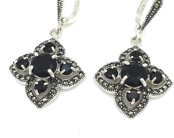 Black Onyx and Marcasite Statement Earrings