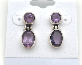 Sterling Silver and Amethyst Dangle Earrings