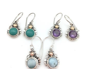 Sterling Silver and Chalcedony, Amethyst or Larimar Dangle Earrings