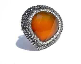 Smokey Topaz and Swarovski Crystal Ring