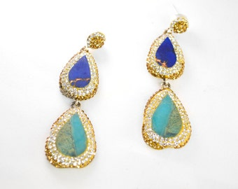Lapis and Turquoise Swarovski Crystal Earring