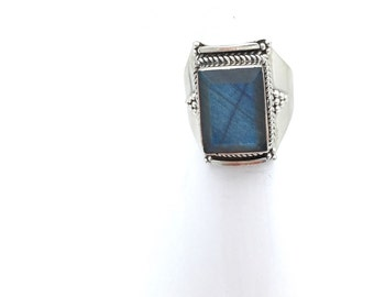 Sterling Silver and Labradorite Statement Ring