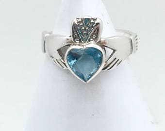 Blue Topaz Sterling Silver Claddaugh Ring