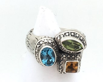 Tri-color Statement Ring