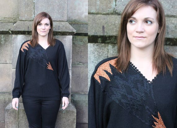Vintage Black Slouchy Metallic Flash Lightning Jumper Top Etsy