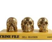 Metallic Hear No Evil Skull Set - Creepy Halloween Decor - Skull Decor - Halloween Party Decorations - Decorative Skulls - Skull Art