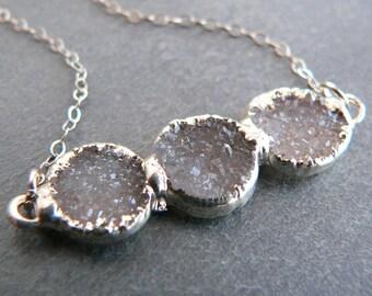 Druzy Crystal Trio Silver Necklace