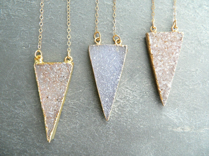 Druzy Crystal Triangle Gold Necklace You Choose image 0