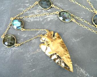 Labradorite + Arrowhead Gold Necklace