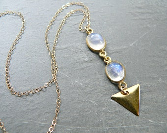 Rainbow Moonstone + Triangle Gold Necklace