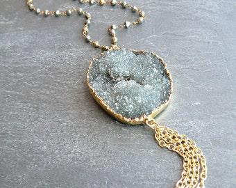 Black Druzy Crystal + Pyrite Gold Tassel Necklace