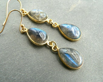 Blue Labradorite Gold Earrings