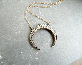 Diamond Crescent Moon Gold Necklace