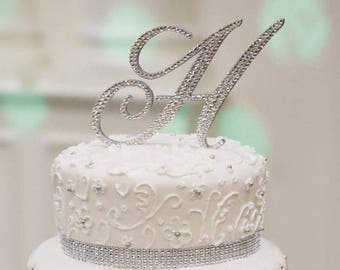 Beautiful Swarovski Crystal Rhinestone Bling Monogram Initial 5 6 Custom Wedding Sweet 16 Cake Toppers Choose Letter Size Font Color