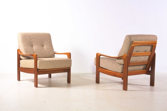 Two Easy Chairs Danish Vintage Anonymous Tropical Wood Etsy