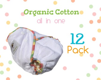 Momgaroo AiO 12 Pack 100% Organic Cotton/Hemp Diapers One Size fits from newborn to 3 yrs old