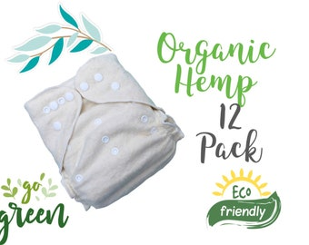 Momgaroo AiO 12 Pack 100% Organic Hemp Diapers One Size fits from newborn to toddler